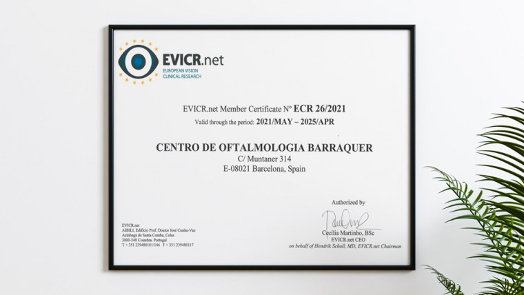 Офтальмологический центр Барракер получил сертификат «Передовой Клинический центр EVICR»